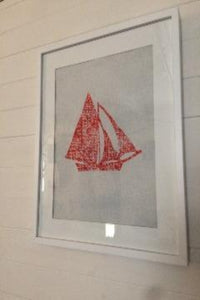 GALWAY HOOKER BLOCK PRINT ON NATURAL IRISH LINEN