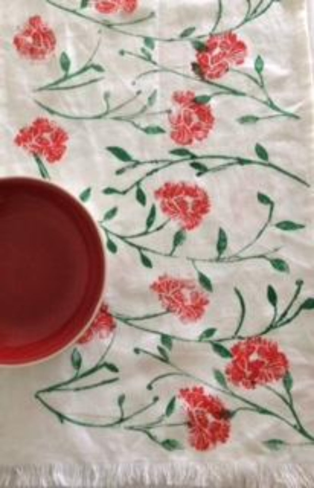 RED PEONY TABLE RUNNER