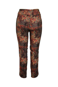The Up Pant!- Leaf Print Side Split Pant