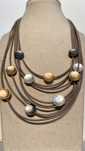 Muti Coloured Metal Disks Leather Necklace