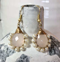 Load image into Gallery viewer, Zoda Stone and Fresh Water Pearl Earrings