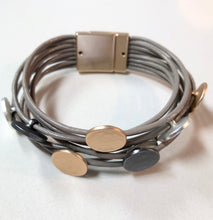 Load image into Gallery viewer, Muti Coloured Metal Disk Leather Bracelet