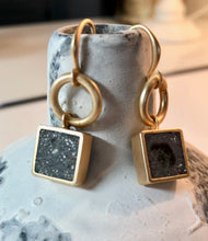 Load image into Gallery viewer, Zoda Brushed Gold Earrings With Square Faux Marble