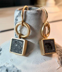 Zoda Brushed Gold Earrings With Square Faux Marble
