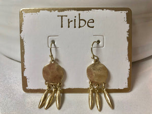 Tribe -Brushed Silver and Gold Plated Earrings With 3 Drops