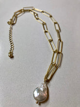 Load image into Gallery viewer, Fabienne - Freshwater Pearl on Silver Or Gold Plated Link Chain