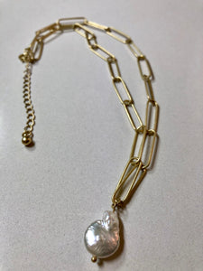 Fabienne - Freshwater Pearl on Silver Or Gold Plated Link Chain