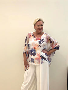 Elizabeth Scott - Silk White Floral Top