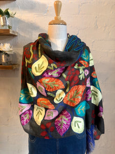 Wool and Silk Embroidered Wrap With leaf and Water Motif