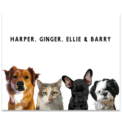 Custom Four Pet Portrait (Poster Only) - Kindred Splendor
