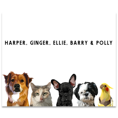 Custom Five Pet Portrait (Poster Only) - Kindred Splendor