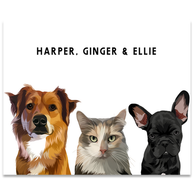 Custom Three Pet Portrait Poster Only - Kindred Splendor