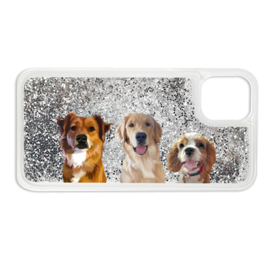 Custom Glitter Three Pet iPhone Case - Kindred Splendor