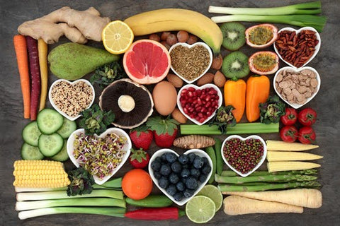 healthy foods laid on a table