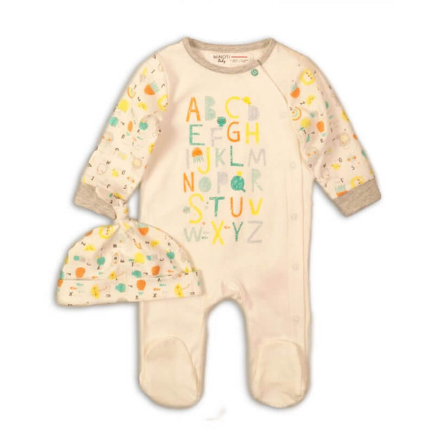 Unisex White Two Piece Alphabet Sleepsuit & Hat Set