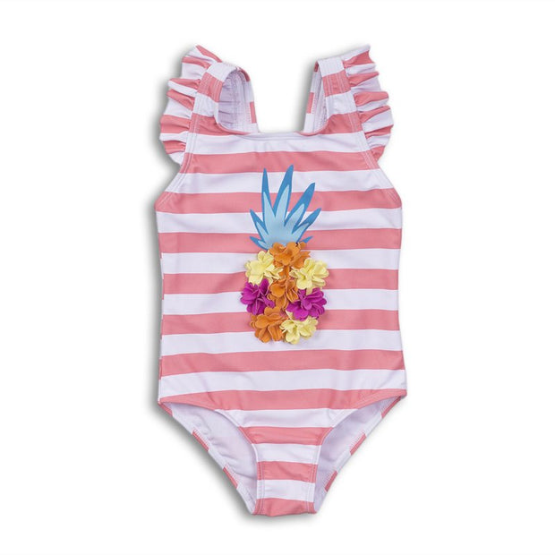 Girls Pineapple Stripe Swimsuit