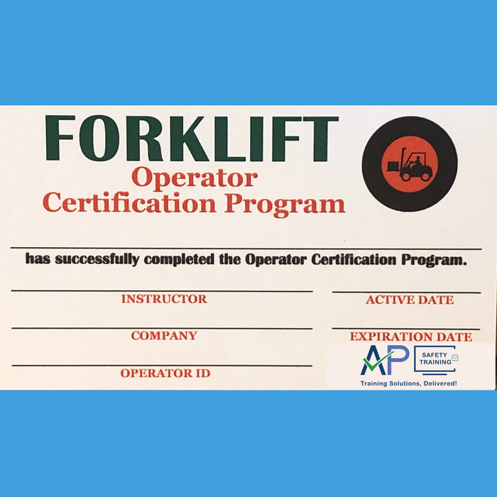 Forklift Operator Certification Series: Certification Card