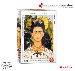 Rompecabezas Eurographics 1000 Piezas - Self-Portrait with Torn Necklace and Hummingbird (Frida Khalo)