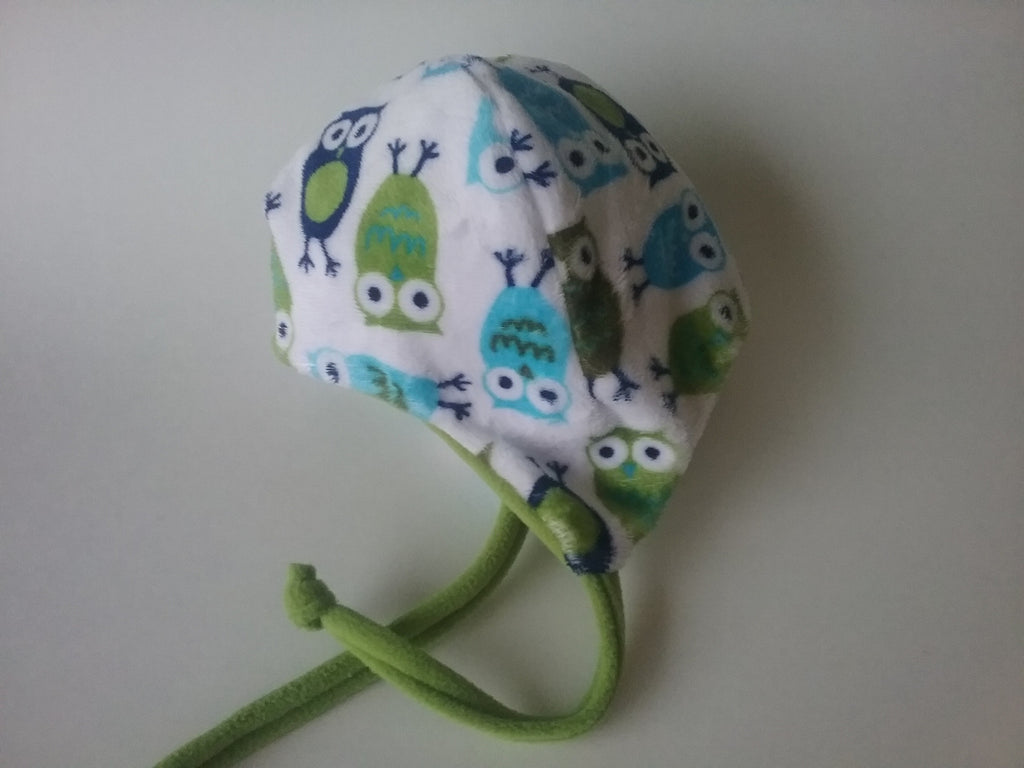 Winter baby hat, owl minky hat,ear flap hat with chin ties