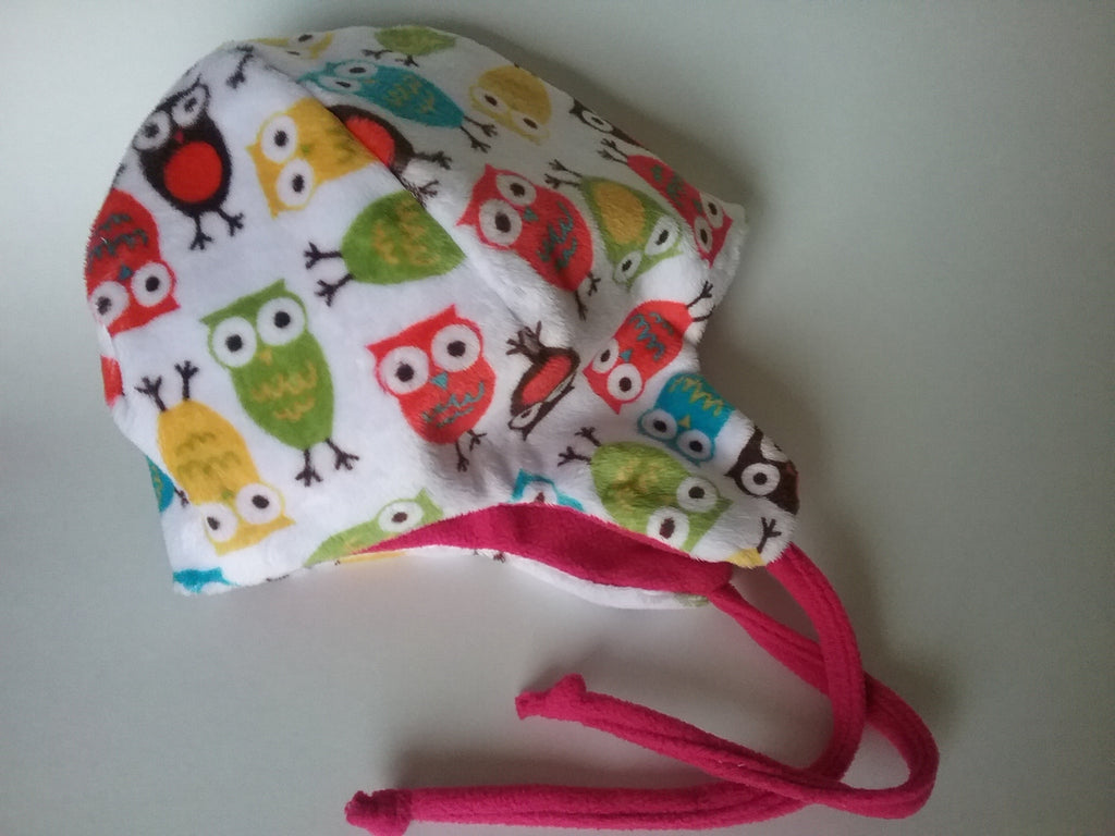 Winter toddler girl hat,owl hat, minky hat,ear flap hat with chin ties