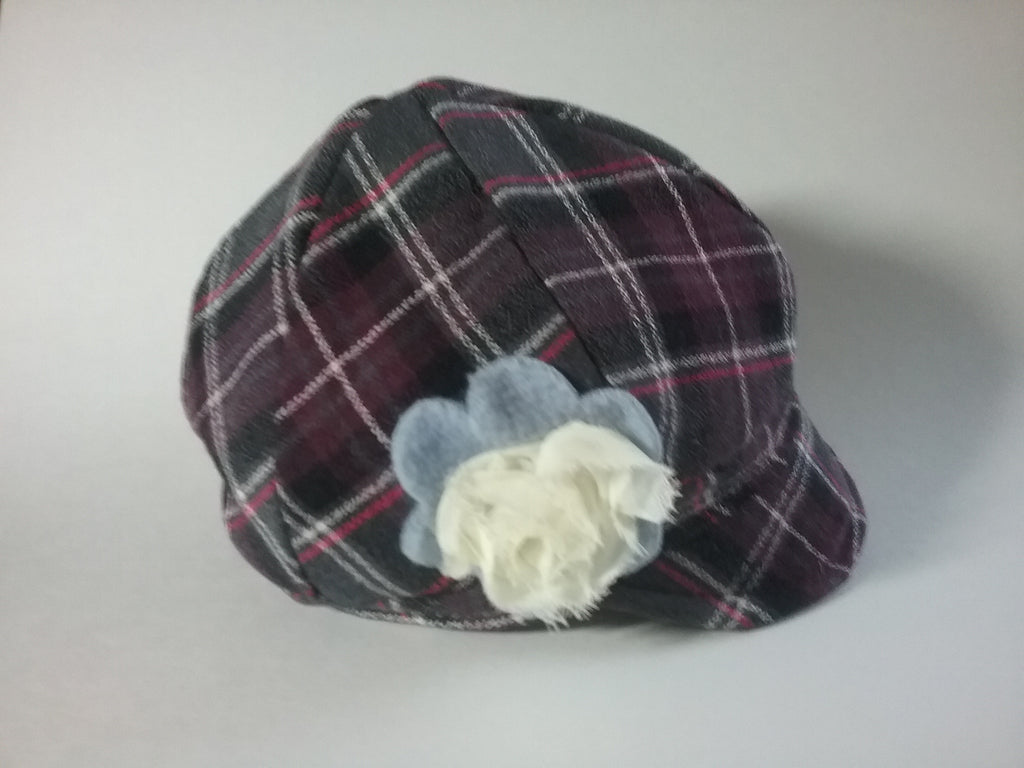Purple plaid newsboy hat
