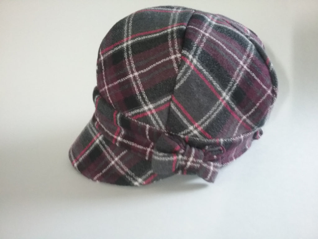 Purple plaid newsboy hat with bow