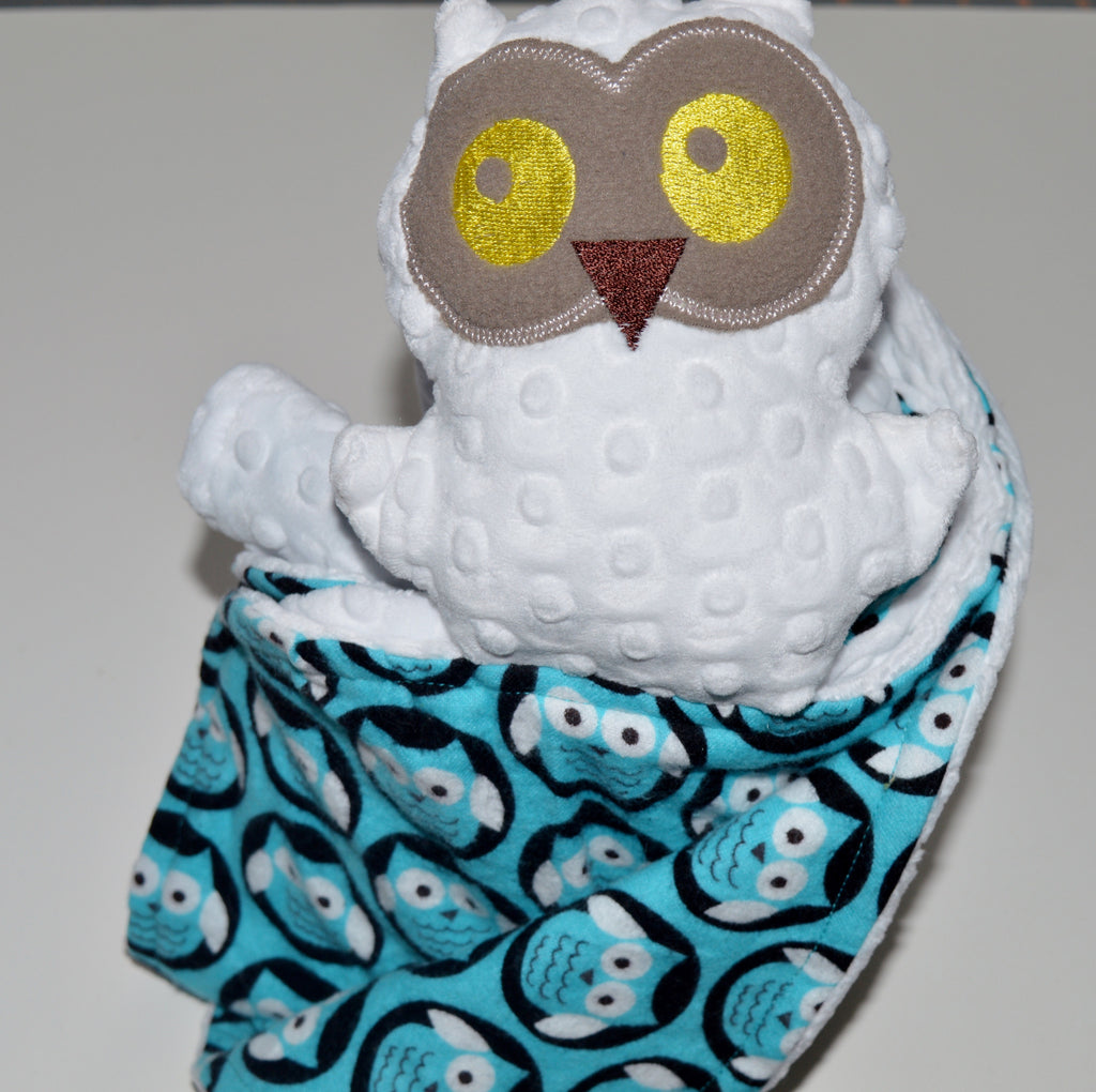 Minky security blanket,white owl, Blanket with Friend