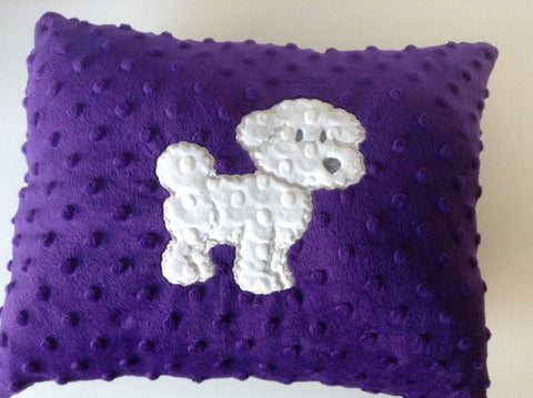 Bichon frise Pillow, Minky pillow,Embroidered pillow,Whimsical Pillow,decor pillow
