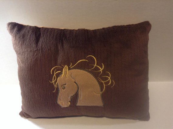 Pillow, Brown horse, Minky pillow,Embroidered pillow,Whimsical Pillow, horse lover, decor pillow