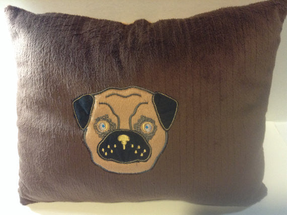 Pillow, pug, Minky pillow,Embroidered pillow,Whimsical Pillow, pug  lover, decor pillow