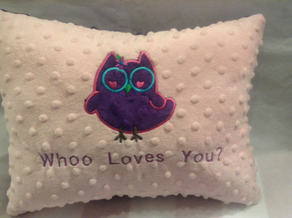 Owl Pillow, Minky pillow,Embroidered pillow,Whimsical Pillow, owl lover, decor pillow