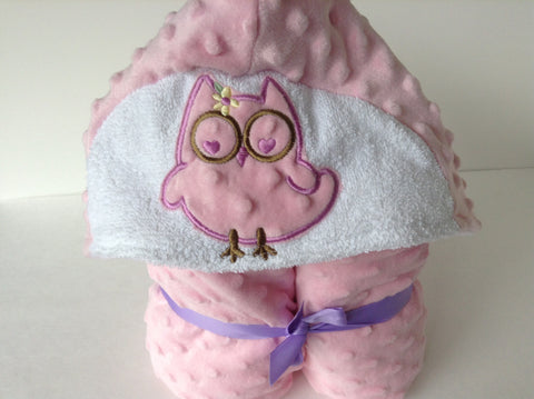 Owl minky and cotton  hooded towel, reversible hooded towel, absorbant on the inside -snugly on the outside