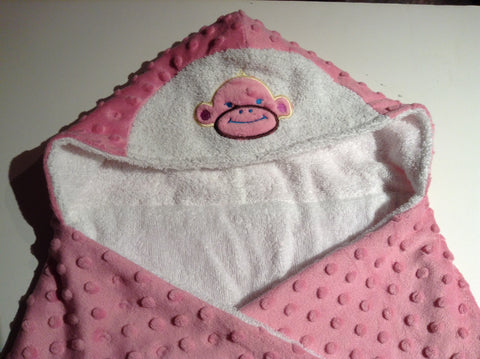 Monkey hooded towel, reversible hooded towel, absorbant on the inside -snugly on the outside