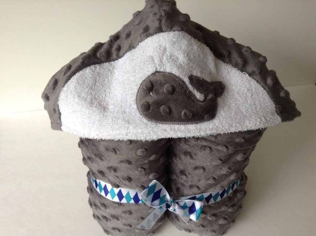 Whale Hooded Towel, reversible hooded towel, grey minky and cotton terry,  Absorbent on the inside snugly on the  outside