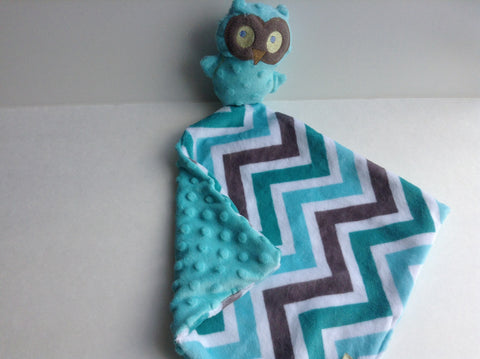 Lovie-  teal and chevron owl lovey, mini security blanket, comfort blanket