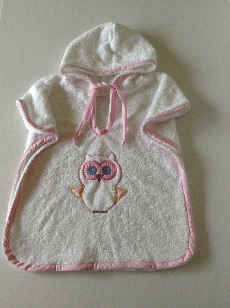Owl poncho style hooded towel, spa cotton terry baby hooded towel