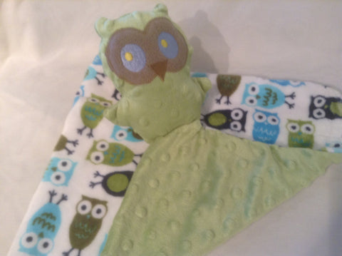Owl lovie, green minky dot and owl prints minky mini security blanket, comfort blanket