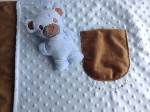 Large Minky blanket with teddy bear in pocket