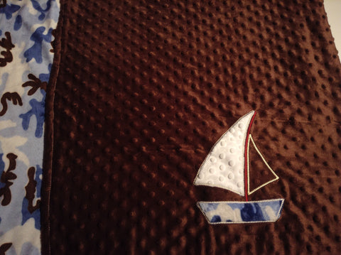 Large Minky blanket with appliquéd sail boat