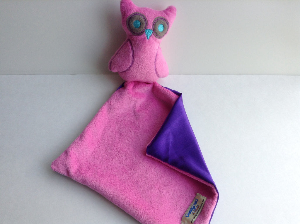 Pink owl lovey, mini security blanket, comfort blanket