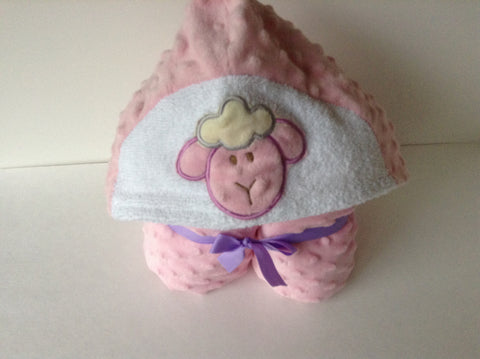 Lamb minky and cotton  hooded towel, reversible hooded towel, absorbant on the inside -snugly on the outside