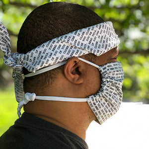 Side view of Block Print Digital Too Close Pocket Mask and bandana