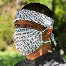 Load image into Gallery viewer, Front View of block print digital pocket mask and bandana