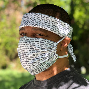 Front View of block print digital pocket mask and bandana