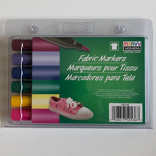 A set of 6 non-washable fabric markers