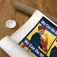 "Load image into Gallery viewer, Closeup of Rosie poster showing ""we can do it"""