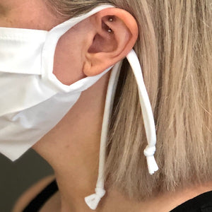 Lycra ear loop comfortably securing cotton face mask