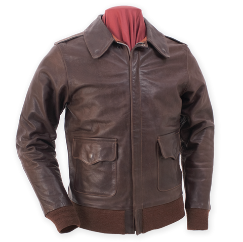 A-2 Type U.S. Air Force WWII Flight Leather Jacket  - Eastman® Seal Brown Horsehide 'Slender'