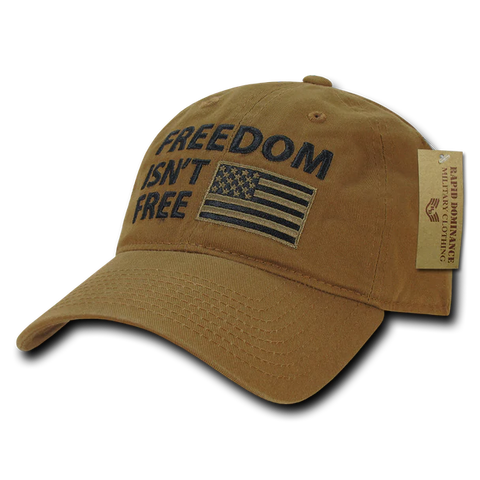 """Freedom isn't free"" Text Embroidered Cap"