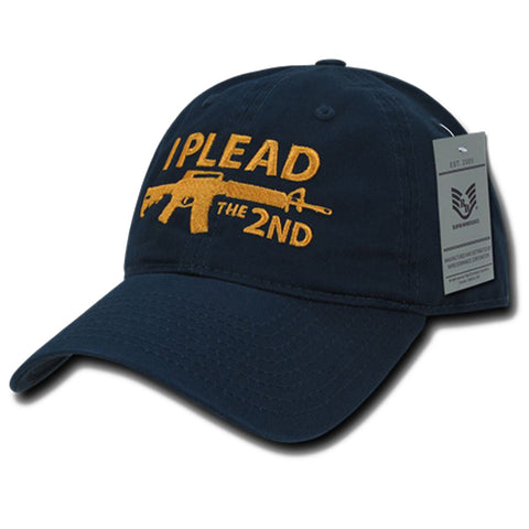 """I Plead the 2nd"" Text Embroidered Cap"